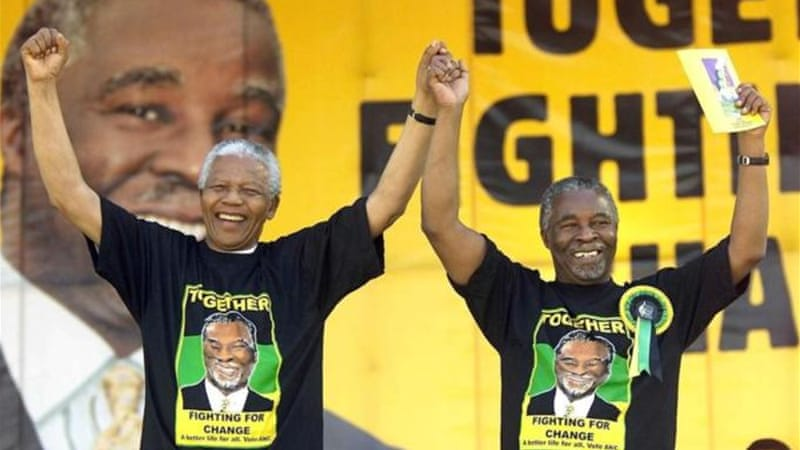 "Nelson Mandela and his successor Thabo Mbeki were centrepieces for an African National Congress based on integrity - but now ""malfeasance, clouded judgements, and muddy vision has become the hallmark of ANC leadership"" [AFP]"