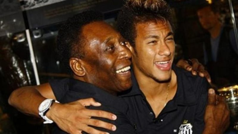 Advice from an old great to a new one: Pele says Neymar has more work to do on his game [AP]