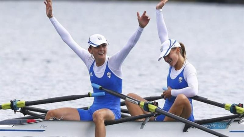Greek pair Christiana Giazitzidou (R) and Alexandra Tsiavou celebrate winning bronze at London 2012 [EPA]