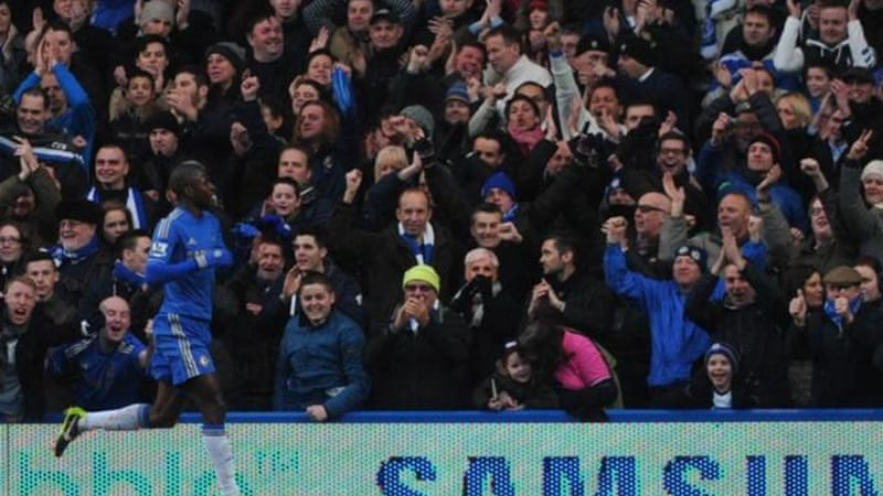 Stamford Bridge erupts as Brazilian midfielder Ramires scores opener against Wigan [AFP]