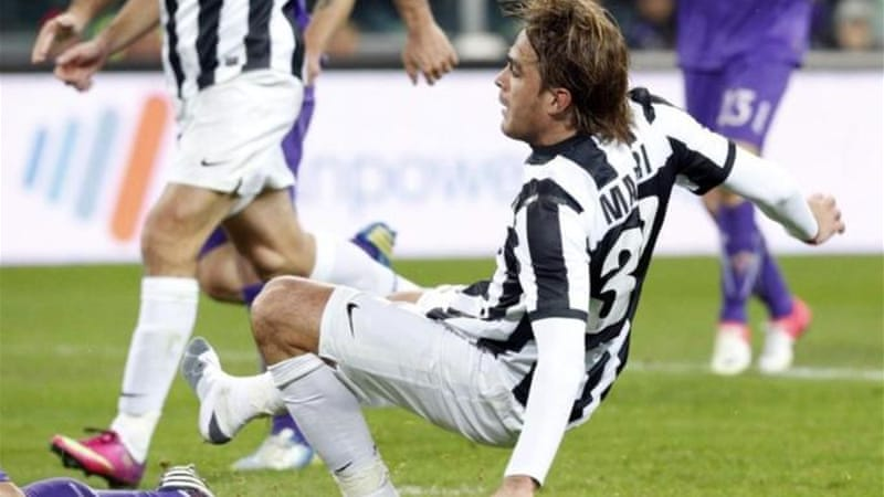 Matri scores Juventus' second goal in his sock after losing a boot against Fiorentina [Reuters]