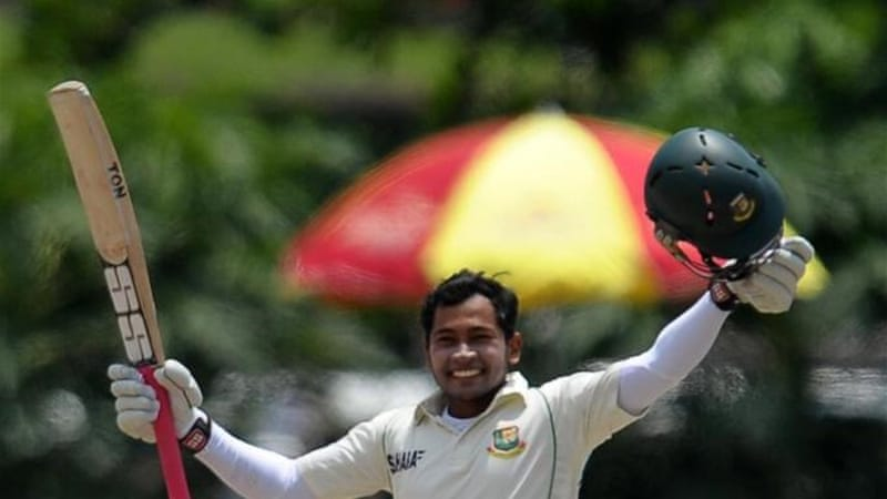 Bangladeshi captain Mushfiqur Rahim celebrates reaching 200 during high scoring match [AFP]