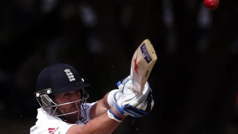 Matt Prior hits boundary on a day where he tots up runs for England alongside Kevin Pietersen [Reuters]