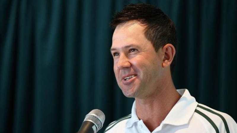 Ponting speaks to audience after receiving award in Hobart, Australia [GALLO/GETTY]
