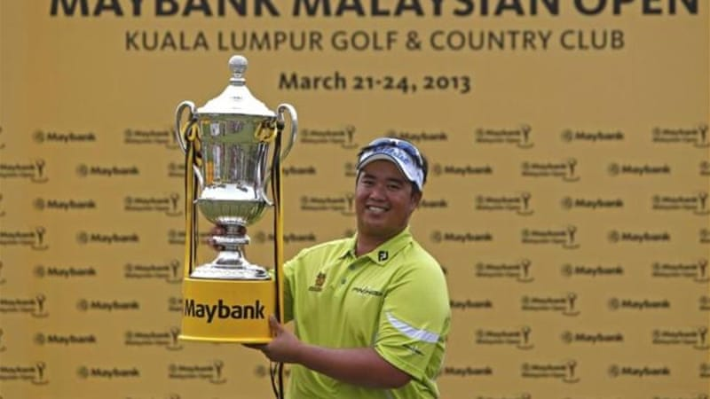 Aphibarnrat doesn't let a rain delay stop him from keeping lead of the Malaysian Open [AP]