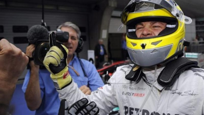 Nico Rosberg celebrates long awaited win for Mercedes at 2012 Chinese Grand Prix [EPA]