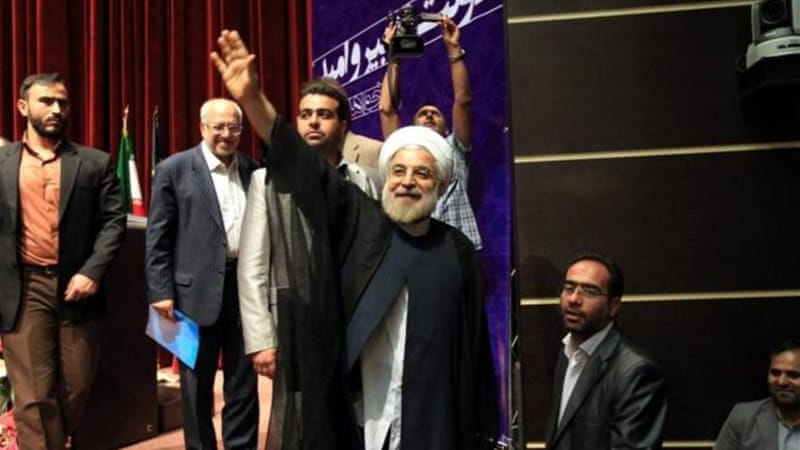 "Rowhani told supporters on Thursday that he was running to ""save Iran's economy"" [EPA]"