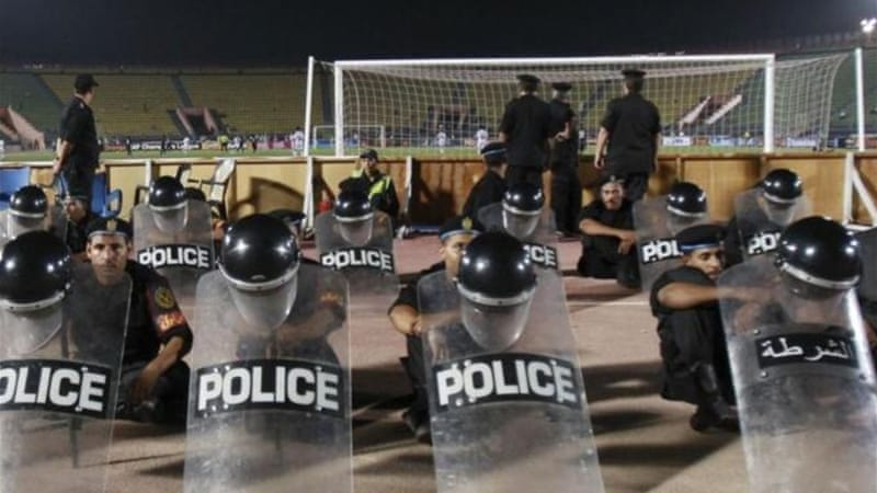 Riot police have been present at Zamalek matches since 74 spectators were killed in Port Said [Reuters]