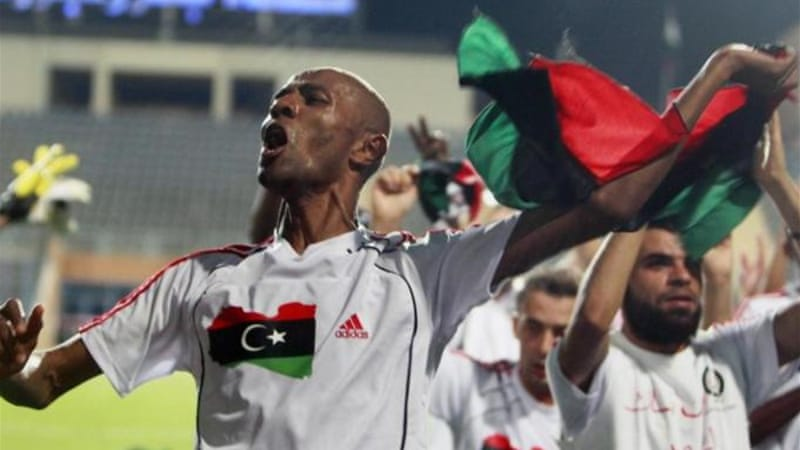 Striker Ahmed Saad celebrates as Libya defeat Mozambique during African Cup of Nations qualifier [Reuters]