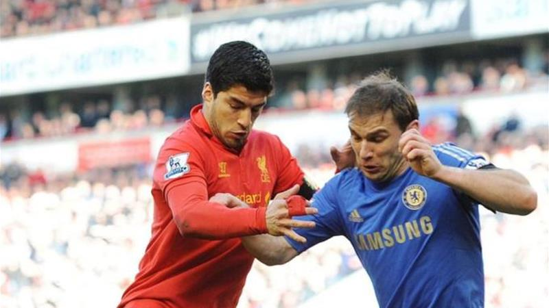 Branislav Ivanovic (R) was on the receiving end of Luis Suarez's attack on April 24 [EPA]