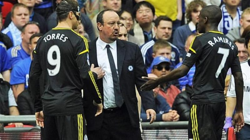 Interim manager Rafa Benitez (C) could leave Stamford Bridge with Europe's second biggest prize [EPA]