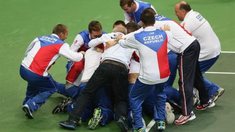 Czech Republic celebrate Davis Cup victory over Spain in 2012 after Radek Stepanek's singles win [GETTY]