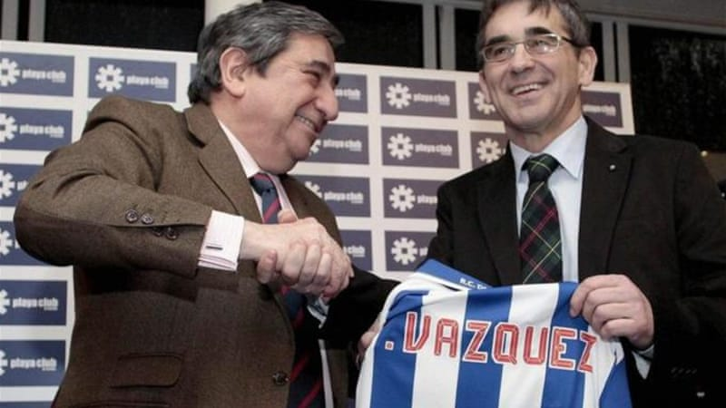 Deportivo president Augusto Cesar Lendoiro (L) blamed club's relegation in 2011 on match-fixing [EPA]