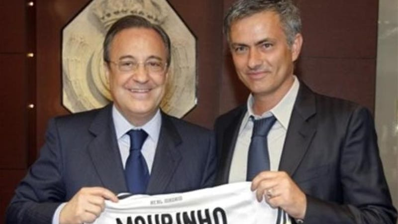 Perez shows off his newest signing Jose Mourinho in May 2010. It proved to be another disappointing appointment [AP]