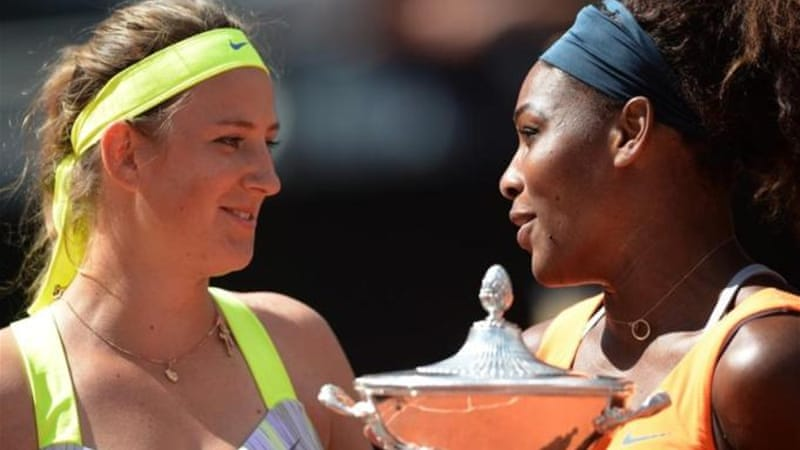Williams (R) was in destructive form as she thrashed Victoria Azarenka 6-1, 6-3 at the Italian Open [AFP]