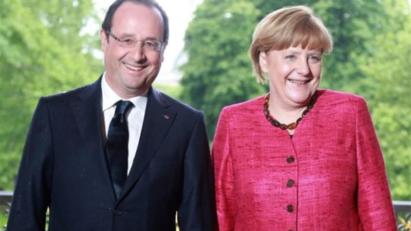 French President Francois Hollande held talks with German Chancellor Angela Merkel in Paris [AFP]