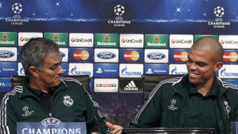 War of words: Things are getting unsavoury between coach Mourinho (L) and 'man of 31 years' Pepe [R]  [AP]