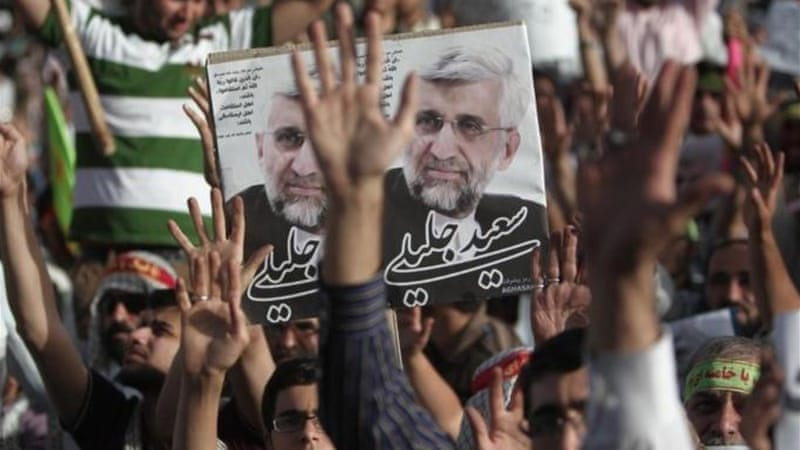 According to an opinion poll published by Mehr news agency Saeed Jalili is in third with 9.8 percent [AFP]