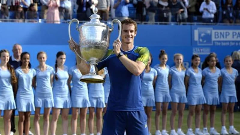 Murray is in great form ahead of Wimbledon after sealing third title at Queen's [AFP]