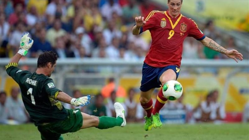 Fernando Torres scored four against Tahiti for Spain, but future of tournament is in doubt  [GALLO/GETTY]