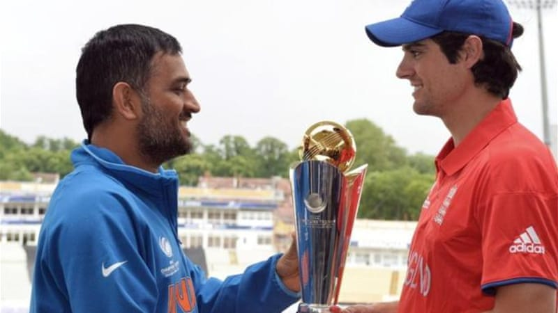 Dhoni's India (L) faces Alistair Cook's England in the final of Champions Trophy on Sunday [AFP]