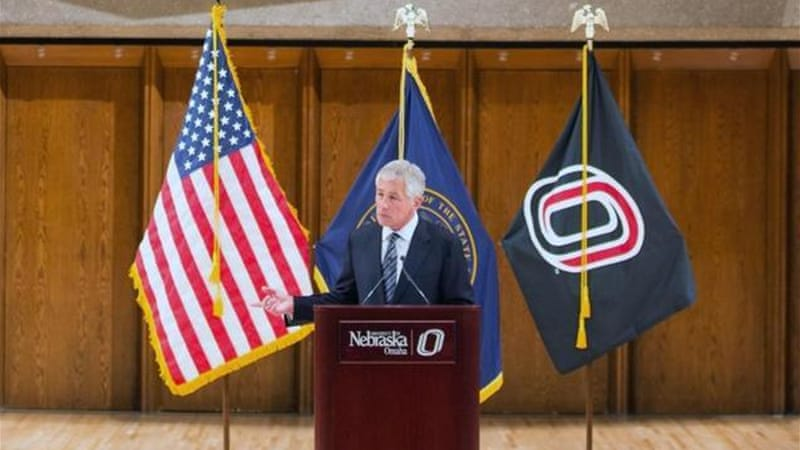 Hagel's apparent attempt at humour appeared to fall flat, judging by the long pause that followed [AP]