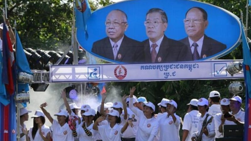 Hun Sen and other CPP leaders marked the start of campaigning by organising a rally [AP]