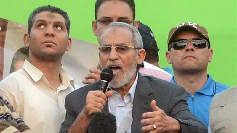 The Brotherhood said the charges against Badie was an attempt by the authorities to break up an ongoing vigil [AP]