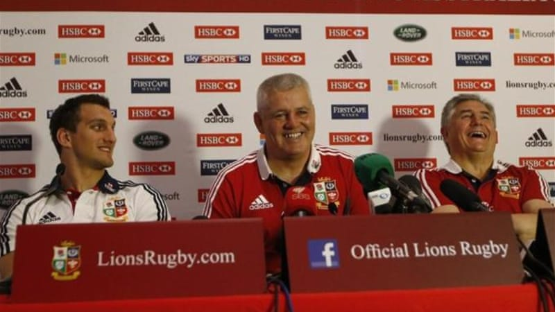 Smiles all round: (L-R) Sam Warburton, head coach Warren Gatland and tour manager Andy Irvine after victory [Reuters]