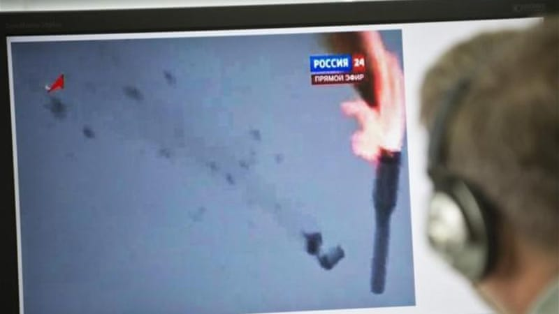State-run Rossiya-24 television showed footage on Tuesday of the rocket falling apart in flames [AFP]