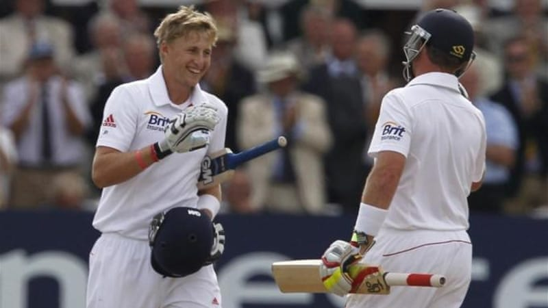 More to come? Root (L) is congratulated by Bell after making his first Test century as opening batsman [AFP]