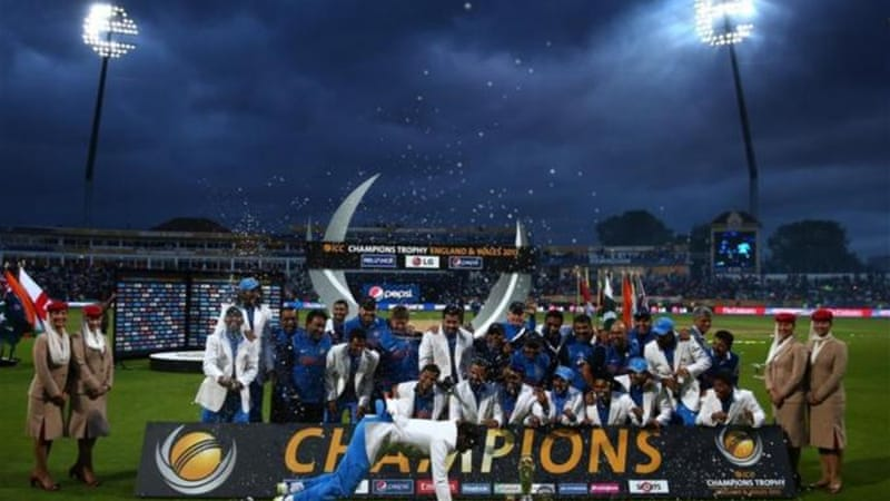Indian team celebrate victory over England in Champions Trophy final on June 23rd [GALLO/GETTY]