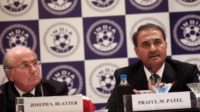 FIFA President Sepp Blatter with All India Football Federation (AIFF) President Praful Patel (R) [EPA]
