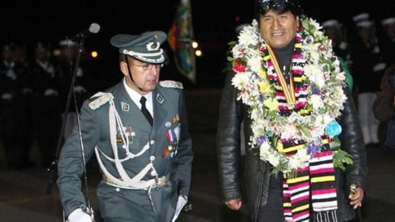 Bolivian President Evo Morales arrived home  after an enforced stopover in Austria [EPA]