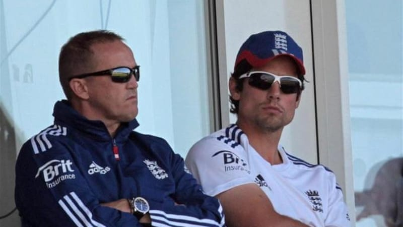 So far so good: Andy Flower (L) is proud of the way Alastair Cook (R) has handled being England captain [AFP]