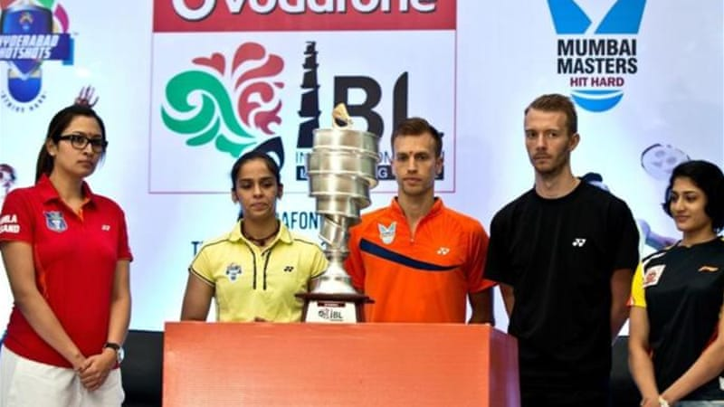 The best of badminton gathers during a press conference in New Dehli to trumpet million-dollar IBL [AFP]