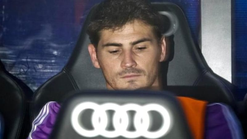 Taking a back seat: Casillas' World Cup aspirations take a knock after being left out by coach Ancelotti [EPA]