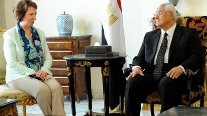 Ashton met with Egyptian interim President Adly Mansour during her visit to Egypt last month [EPA]