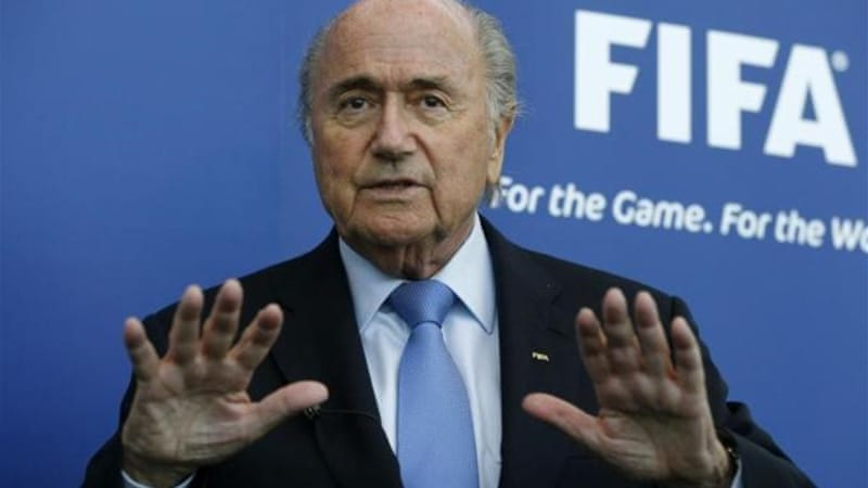 Call for calm: FIFA President Sepp Blatter addresses media after meeting Israel and Palestine soccer chiefs [Reuters]