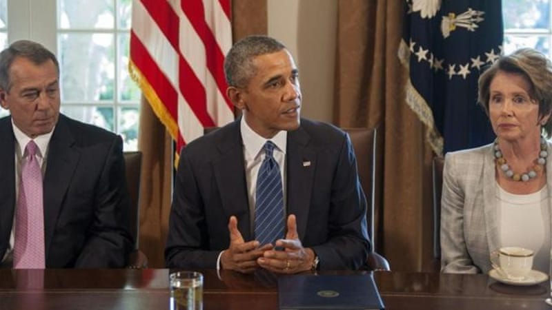 Obama met house speaker Boehner and Pelosi at the White House [AFP]