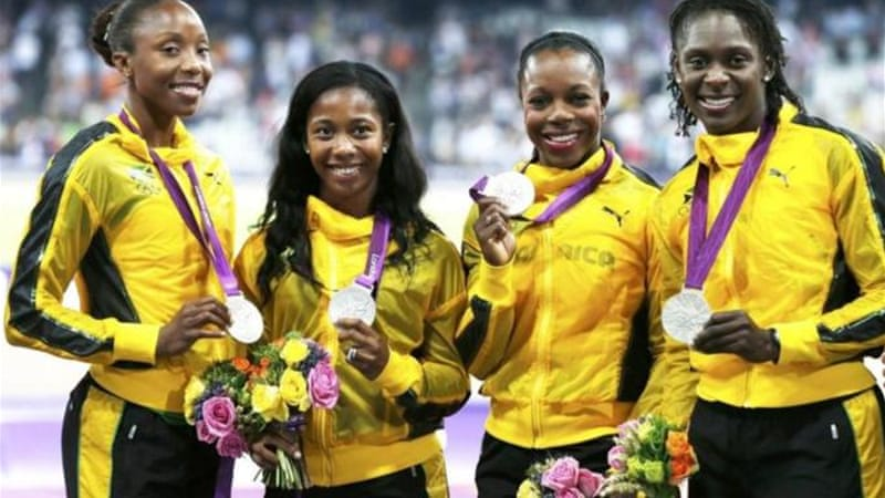 Jamaica's Simpson (L) and Campbell-Brown (2nd R) have both tested positive of banned diuretic [Reuters]
