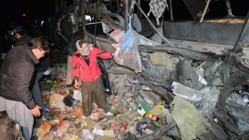Many of the passengers on the bombed bus were women and children [AFP]
