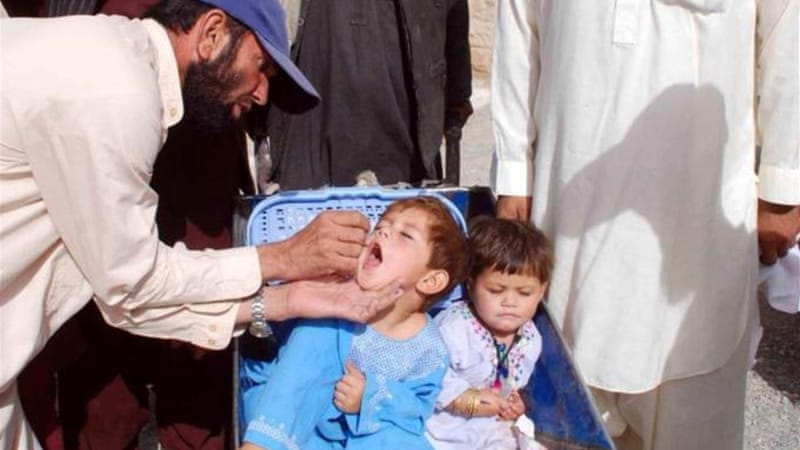 Efforts to eradicate polio are often hampered by attacks by Taliban fighters on vaccination teams [EPA]