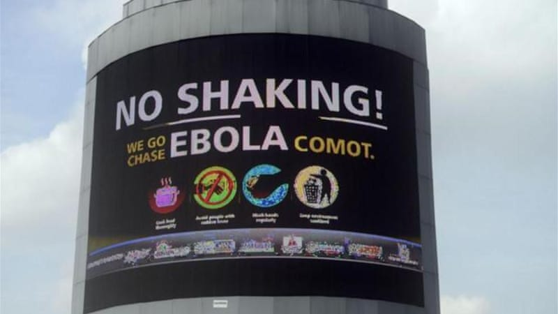 An electronic information board on Ebola in Lagos, Nigeria [AFP]