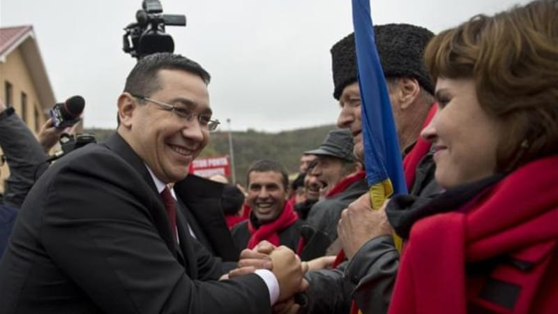 Presidential candidate and Romanian Prime Minister Victor Ponta won the first round of the presidential with 40 percent of the vote [AFP]