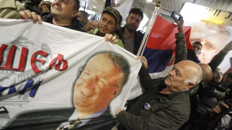 Supporters of Vojislav Seselj before his  arrival in Belgrade [EPA]