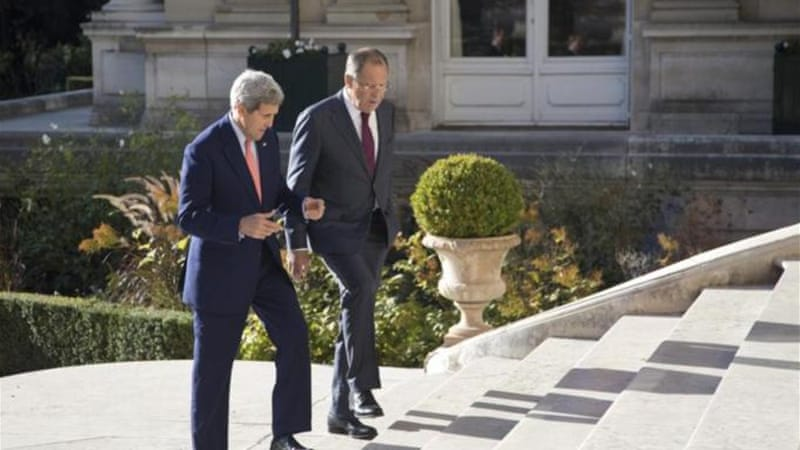 Lavrov and Kerry said their nations will exchange information about movements on the Russia-Ukraine border [AP]