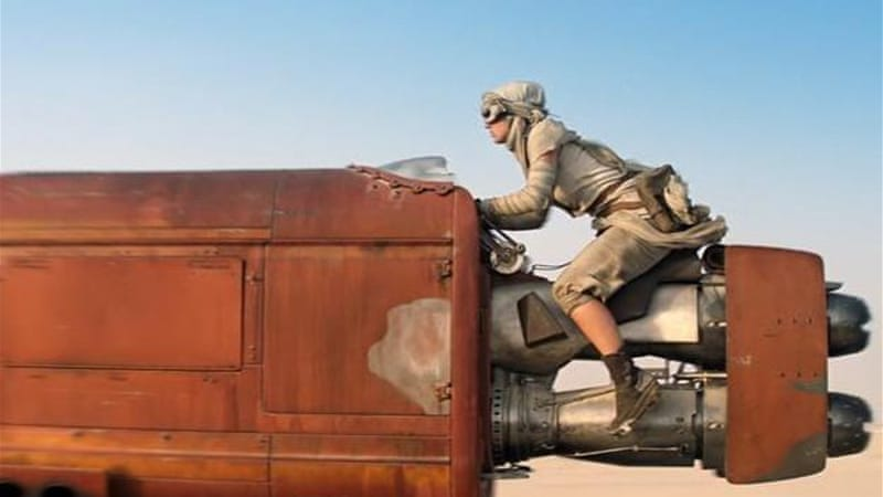 The trailer opens with a 'Lawrence of Arabia' shot of a young woman on a speeder bike, writes Crighton [AP]