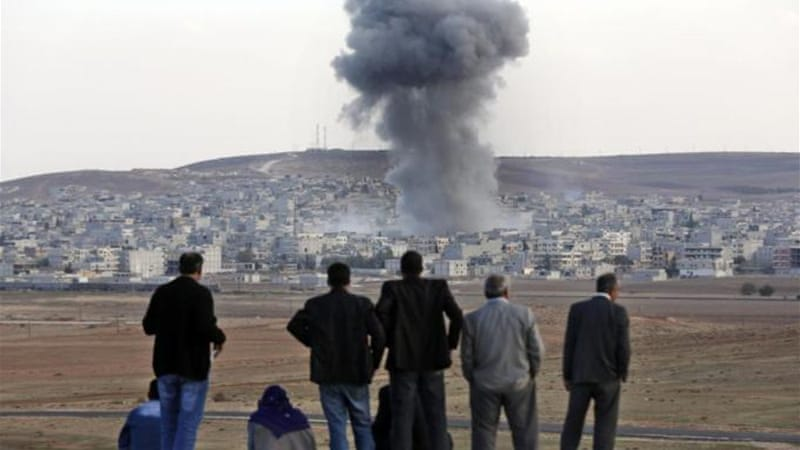 The 13 strikes in Kobane, destroyed 19 fighting positions on Friday [File: EPA]