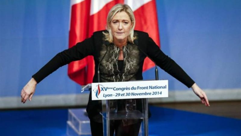 Marine Le Pen, France's National Front political party leader, delivers a speech at its congress in Lyon [Reuters]